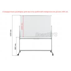 Маркерная горизонтальная мобильная поворотная доска 100х150 - металлический профиль