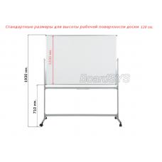 Маркерная горизонтальная мобильная поворотная доска 120х150 - металлический профиль