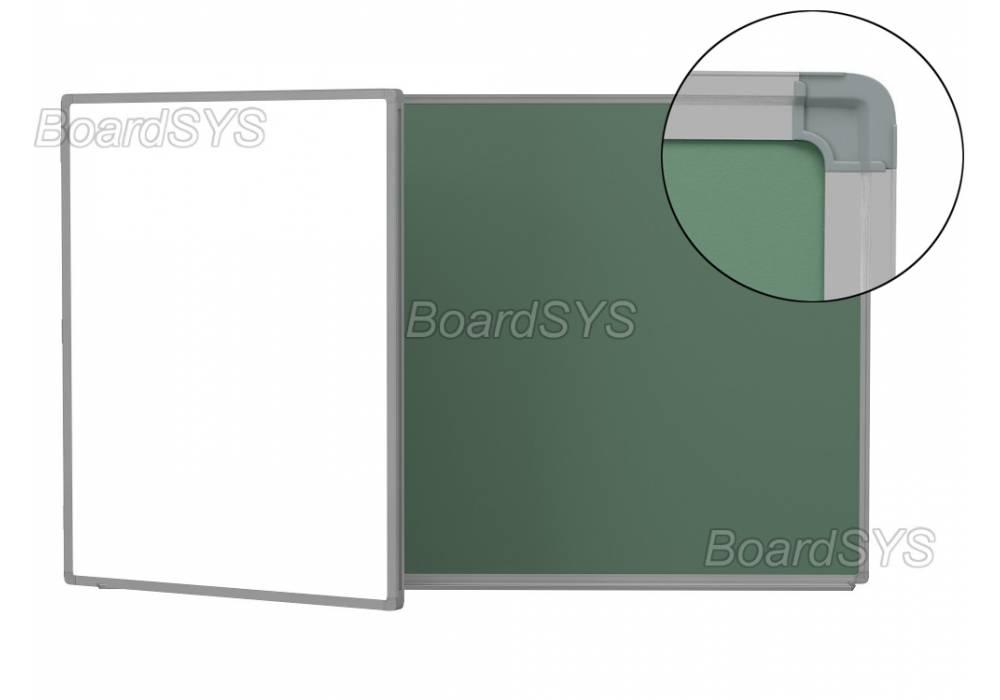 Двухэлементная магнитно-комбинированная доска 100х255 - алюминиевый профиль створка слева