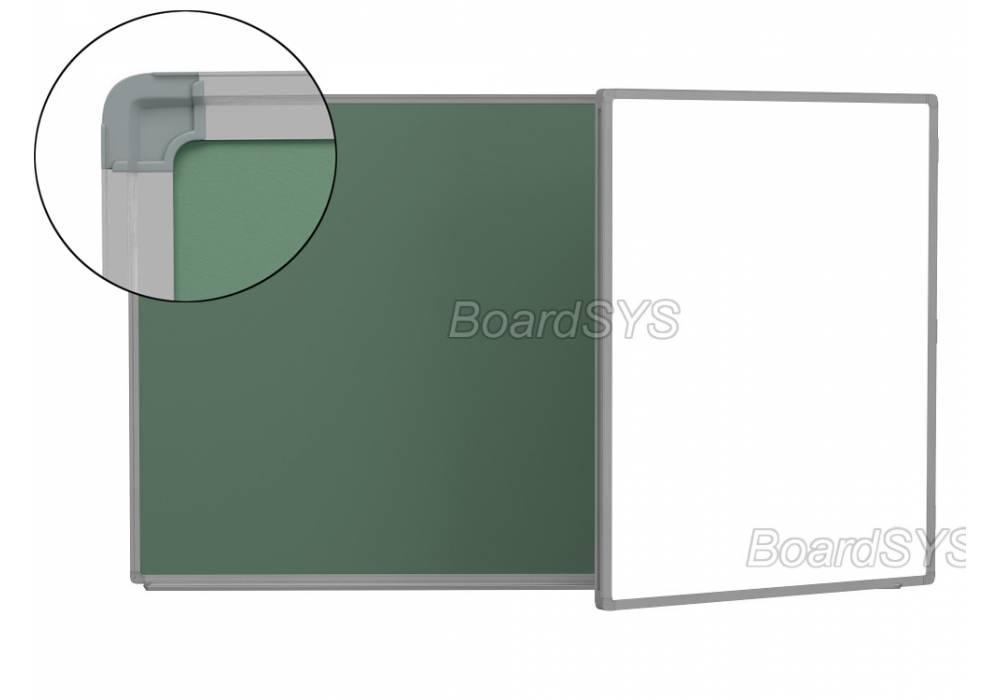 Двухэлементная магнитно-комбинированная доска 120х225 - алюминиевый профиль створка справа