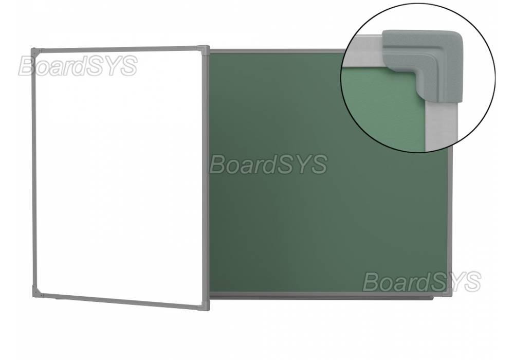 Двухэлементная магнитно-комбинированная доска 120х225 - металлический профиль створка слева