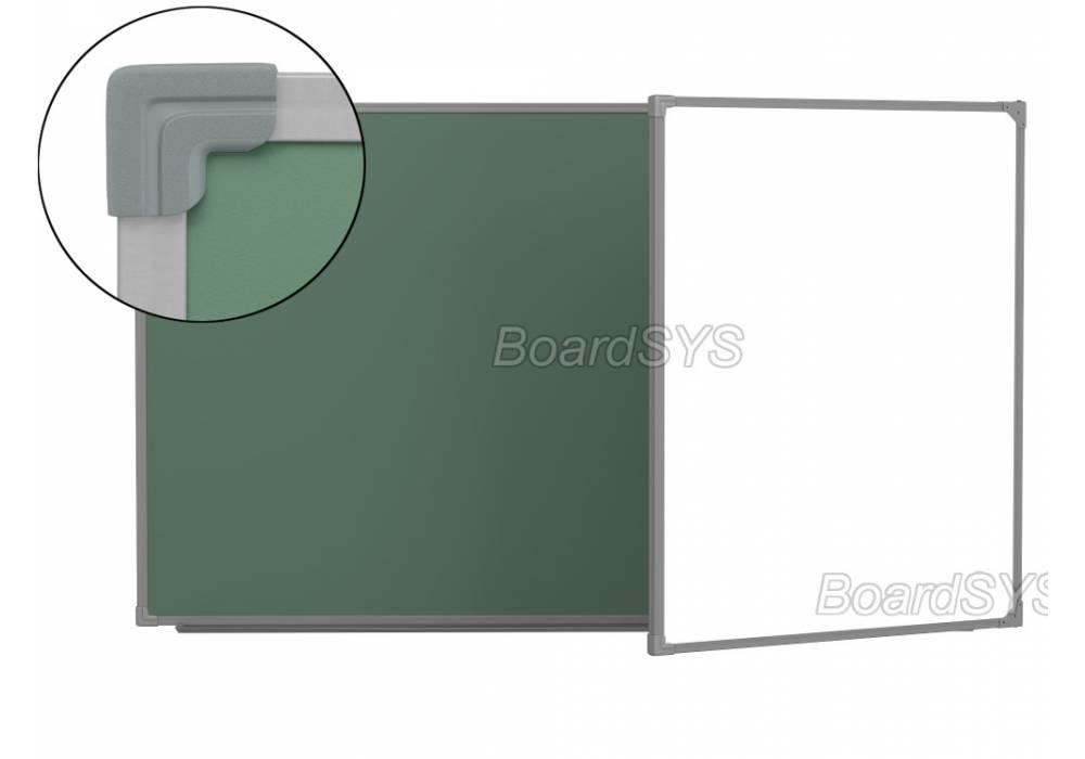 Двухэлементная магнитно-комбинированная доска 120х255 - металлический профиль створка справа