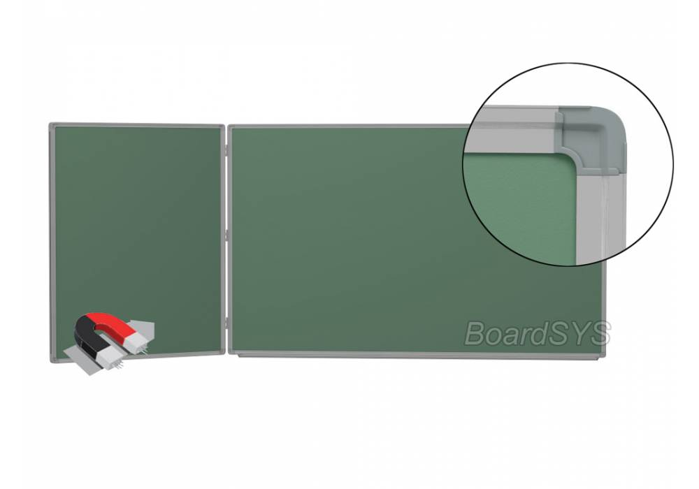 Двухэлементная магнитно-меловая доска доска 100х225 - алюминиевый профиль створка слева