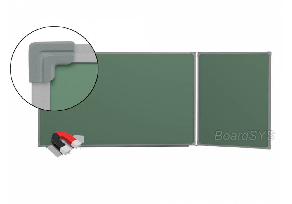 Двухэлементная магнитно-меловая доска доска 120х225 - металлический профиль створка справа