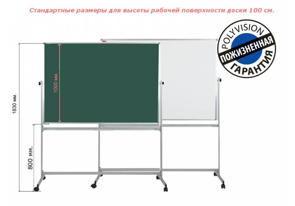 Магнитно-комбинированная горизонтальная мобильная поворотная доска 100х150 с покрытием PolyVision