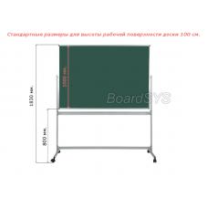 Меловая горизонтальная мобильная поворотная доска 100х150 - металлический профиль