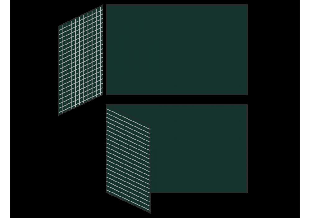 Разлинованная двухэлементная магнитно-меловая доска доска 100х225 - металлический профиль створка слева