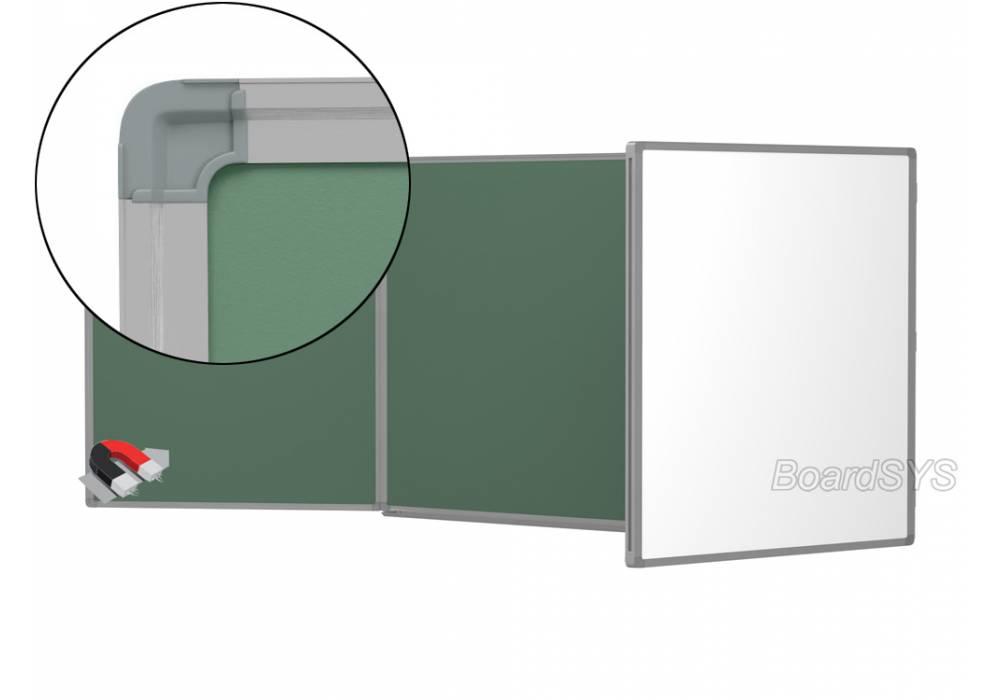 Трехэлементная магнитно-комбинированная доска 75х200 - алюминиевый профиль