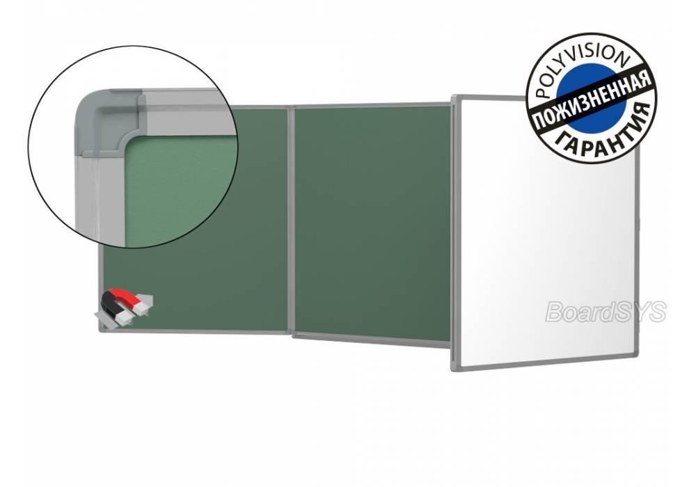 Трехэлементная магнитно-комбинированная доска 120х300 с покрытием PolyVision