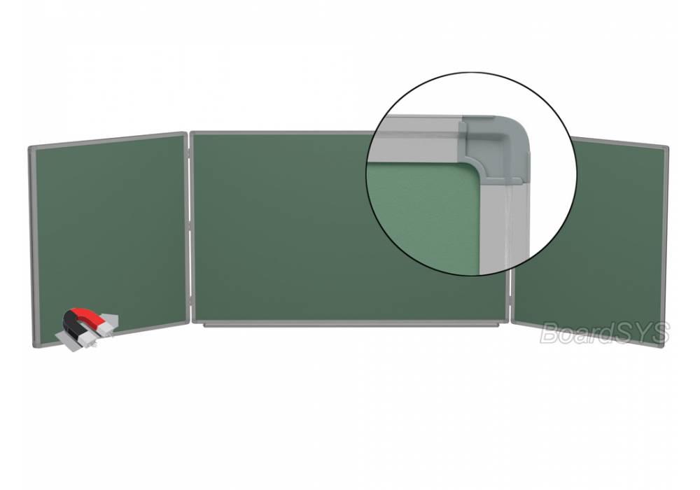 Трехэлементная магнитно-меловая доска доска 120х500 - алюминиевый профиль