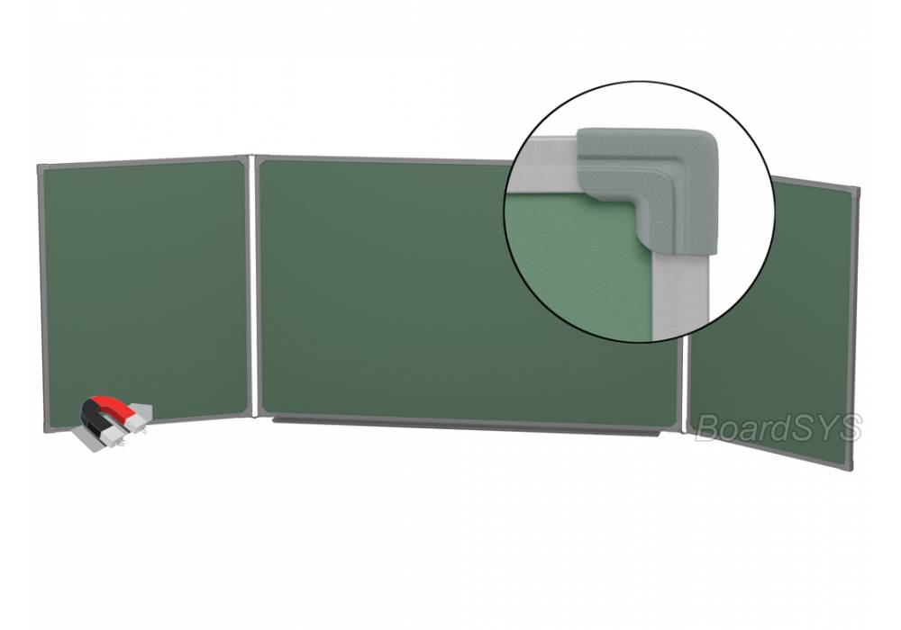 Трехэлементная магнитно-меловая доска доска 120х400 - металлический профиль