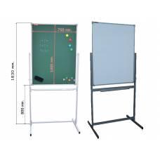 магнитно-комбинированная вертикальная мобильная поворотная доска 100х75 - металлический профиль