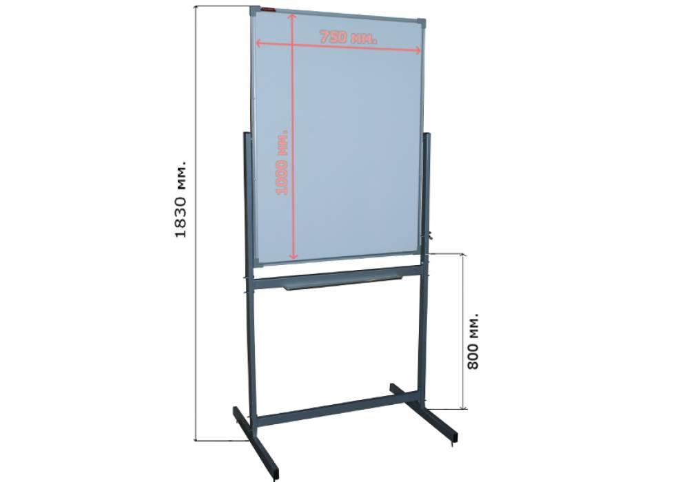 Маркерная вертикальная мобильная поворотная доска 100х75 - металлический профиль